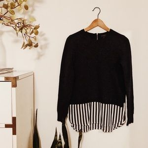 J. Crew Sweater with striped Shirttail
